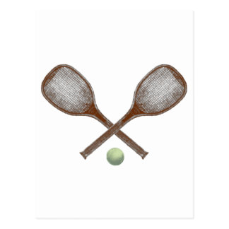 tennis vintage racket and ball postcard