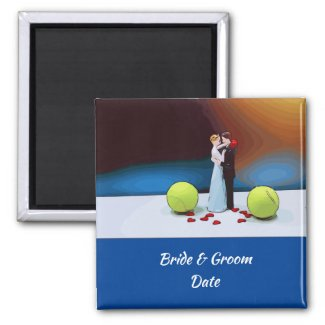 Tennis wedding bride and groom with tennis ball magnet