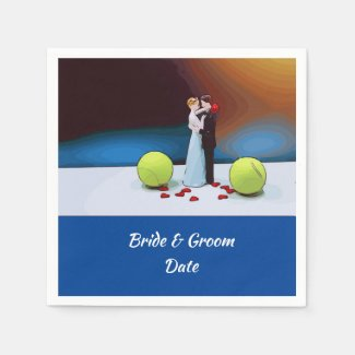 Tennis wedding bride and groom with tennis ball napkins
