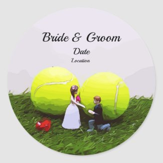 Tennis Wedding bride groom with tennis balls Classic Round Sticker