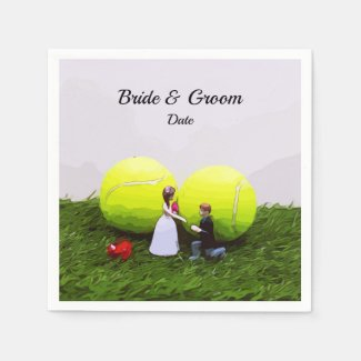 Tennis Wedding bride groom with tennis balls Napkins