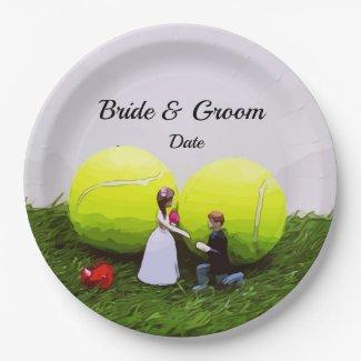 Tennis Wedding bride groom with tennis balls Paper Plate
