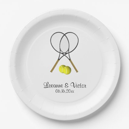 Tennis Wedding Personalized Paper Plate