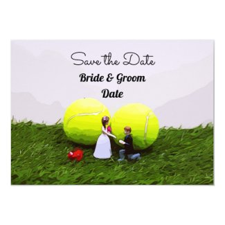 Tennis wedding save the date with bride and groom invitation