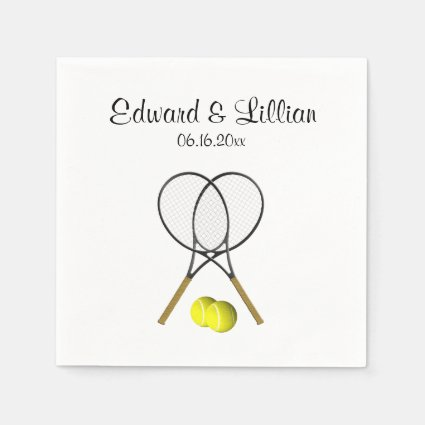 Tennis Wedding Theme Personalized Paper Napkin