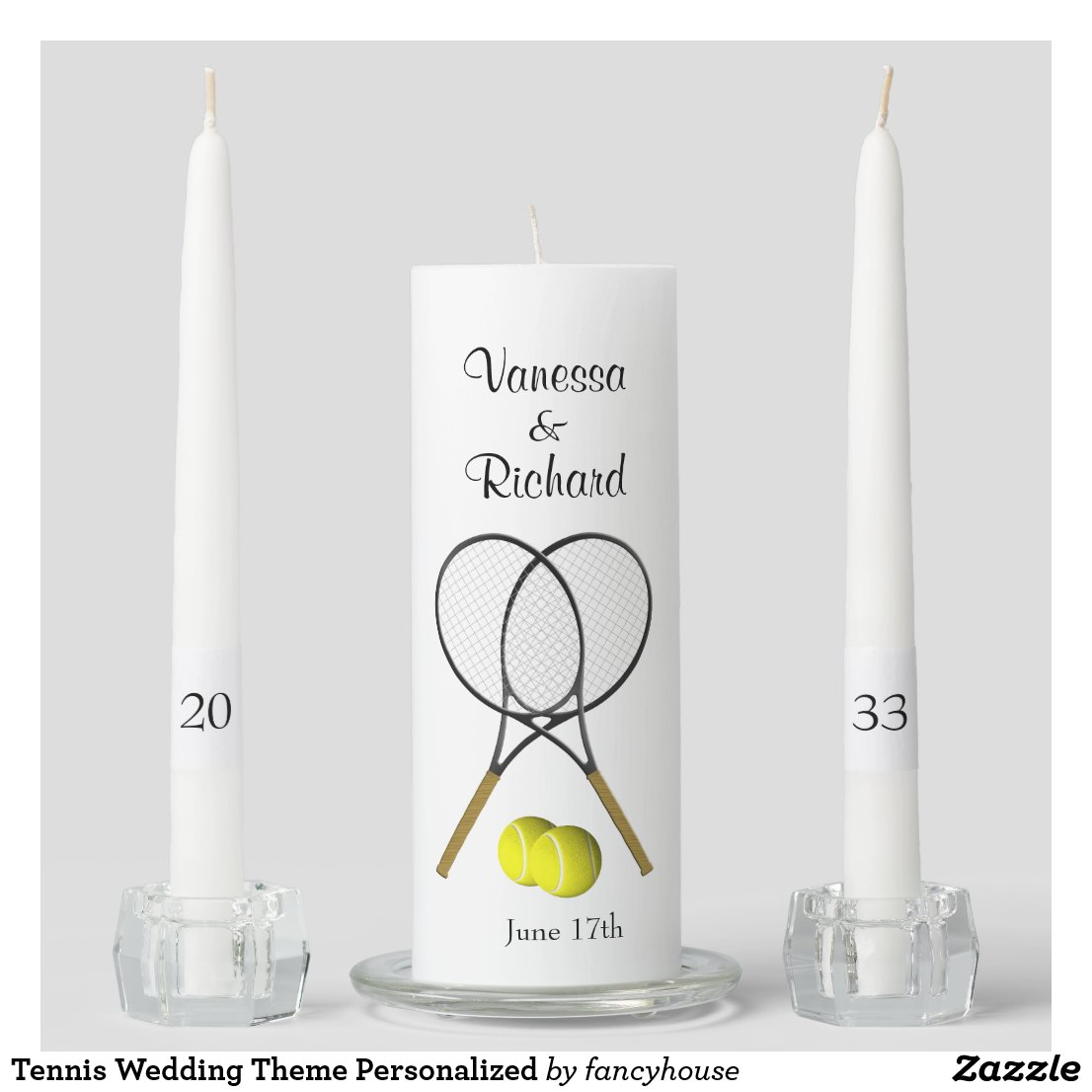 Tennis Wedding Theme Personalized Unity Candle Set