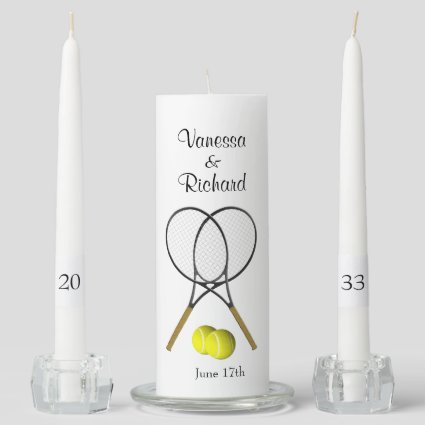 Tennis Wedding Theme Personalized Unity Candle Set