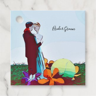 Tennis Wedding with bride and groom Favor Tags