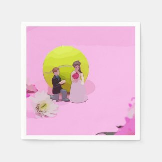 Tennis wedding with bride and groom tennis ball napkins