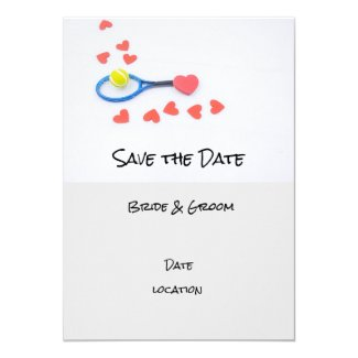 Tennis wedding with racket and hearts invitation