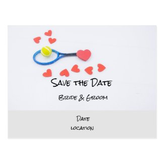 Tennis wedding with racket and hearts Invitation Postcard