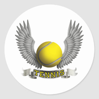 Tennis wings B Classic Round Sticker