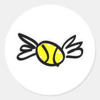 tennis-wings round sticker