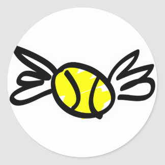 tennis-wings round stickers