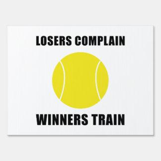 Tennis Winners Train Lawn Sign