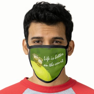 Tennis  with ball and glass of beer life on court face mask
