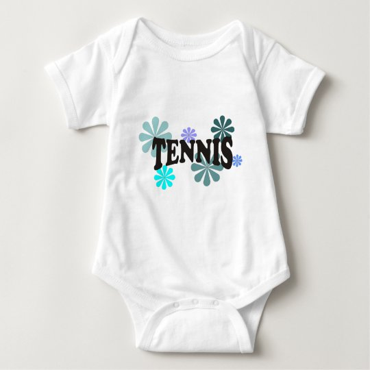 Tennis with Blue Flowers Baby Bodysuit