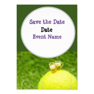 Tennis with glasses of beer on tennis ball invitation