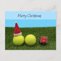 Tennis with Merry Christmas Santa hat on green Holiday Postcard