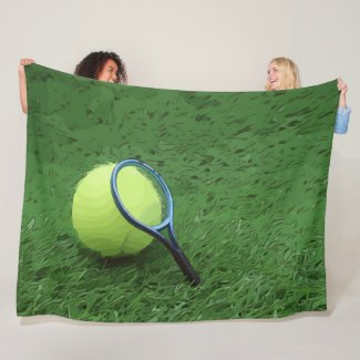 Tennis with racket are on green grass fleece blanket