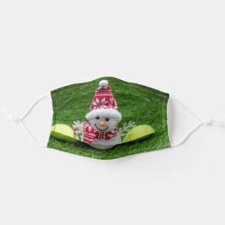 Tennis with Snowman for Christmas Holiday Cloth Face Mask