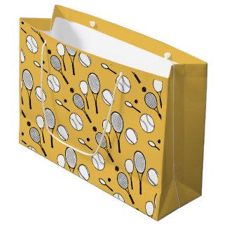 Tennis yellow rackets and balls large gift bag