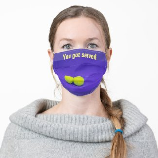 Tennis you got served on purple color adult cloth face mask