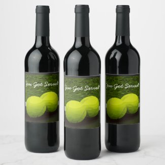 Tennis You Got Served with tennis ball Wine Label