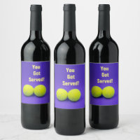 Tennis You've got served with tennis ball Wine Label