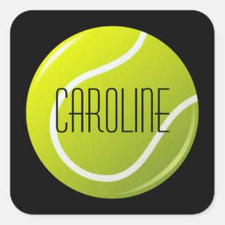 Tennisball en nombre personalizado fondo negro pegatina cuadrada