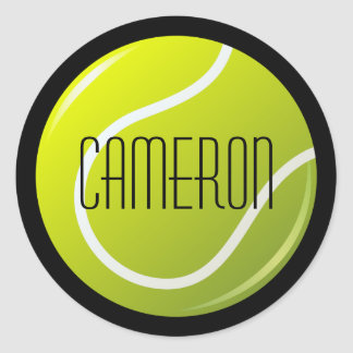 Tennisball on black background personalized name classic round sticker