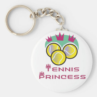 TennisChick Princess Basic Round Button Keychain