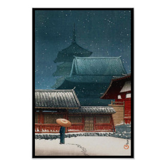Tennô-ji Temple in Osaka hasui kawase shin hanga Posters