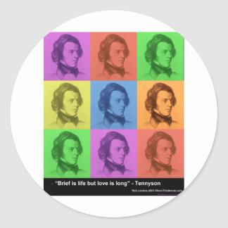 "Tennyson ""Love Is Long"" Quote PopArt Gifts & Tees Classic Round Sticker"