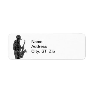 Tenor Sax Player Shaped Word Art Black Text Label