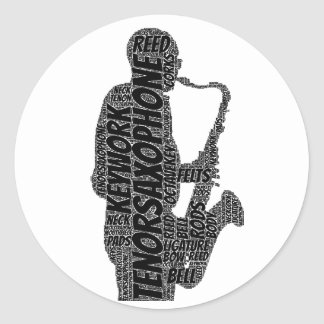 Tenor Sax Player Shaped Word Art Black Text Stickers