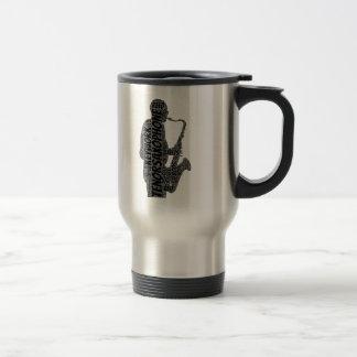 Tenor Sax Player Shaped Word Art Black Text Travel Mug