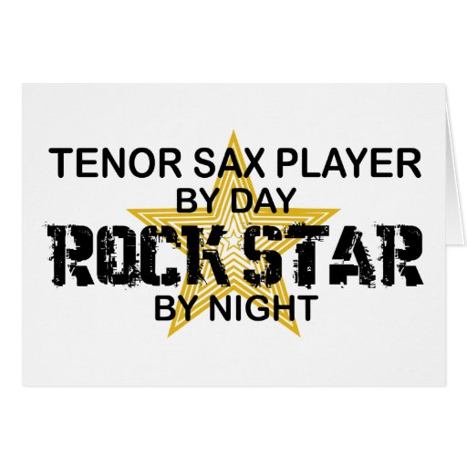 Tenor Sax Rock Star by Night Card
