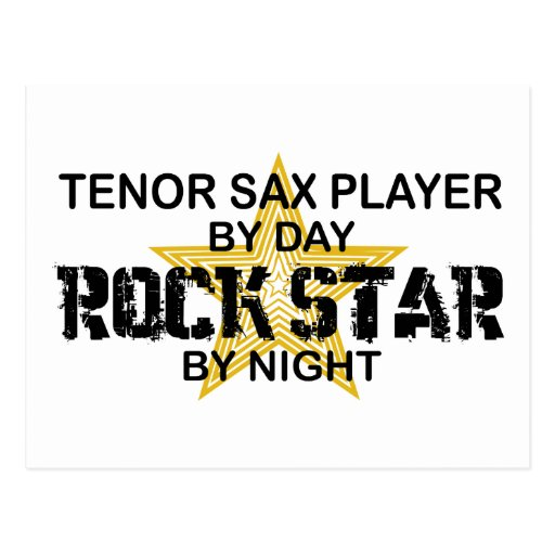 Tenor Sax Rock Star by Night Postcard