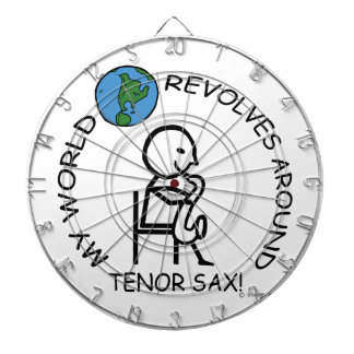 Tenor Sax - World Revolves Around Dartboard With Darts