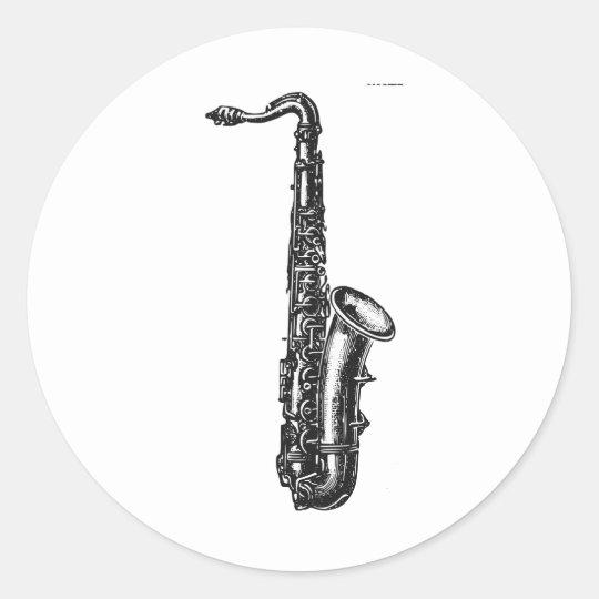 Tenor Saxophone Classic Round Sticker