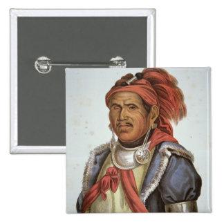 Tenskwatawa (1775-1836) (colour litho) 2 inch square button