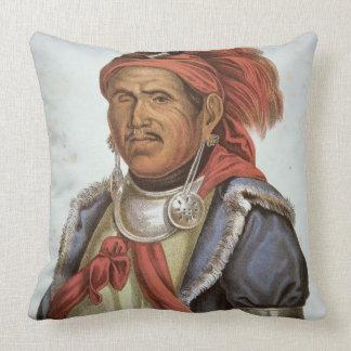 Tenskwatawa (1775-1836) (colour litho) throw pillow