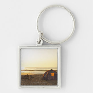 Tent and Burned out Campfire on the Beach. Silver-Colored Square Keychain