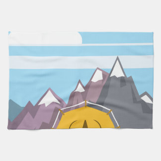 Tent and mountains kitchen towel