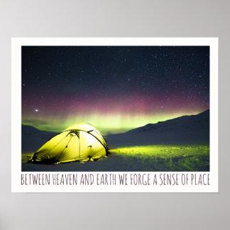 Tent Camper Under Aurora Borealis At Night Poster
