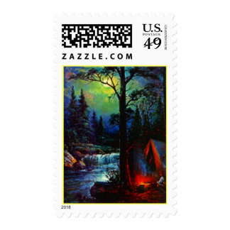 TENT CAMPING MOONLIGHT BY RIVER CAMPFIRE STAMP
