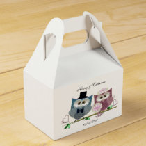 Tent Favour Box with Cute Wedding Owls Art