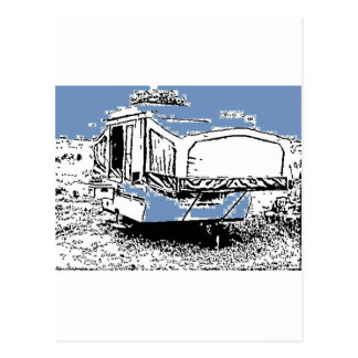 Tent Trailer on Blue Postcard