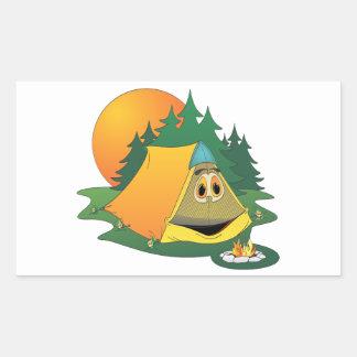 Tent Woods Cartoon Rectangle Sticker